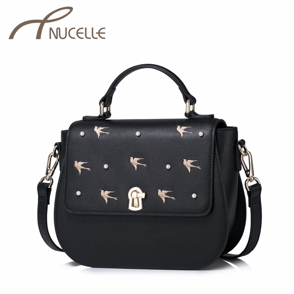 NUCELLE Women PU Leather Handbag Ladies Fashion Bird Messenger Tote Purse Female Leisure Embroidery Rivet Shoulder Bags NZ4988 just star women s pu leather handbag ladies cartoon cat embroidery tote shoulder purse female leisure messenger bags jz4492