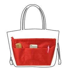Medium Nylon Organizer Bag Handbag Purse Insert with Compartments, Red, Blue, Pink;