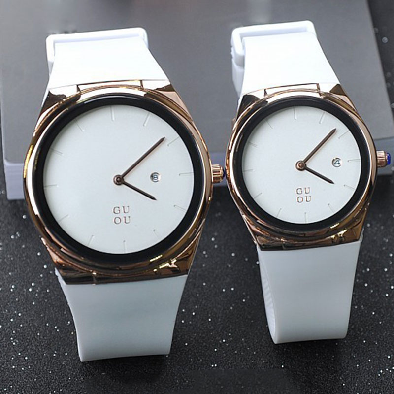 guou band women fashion casual quartz watch men watches montre femme reloj mujer silicone. Black Bedroom Furniture Sets. Home Design Ideas
