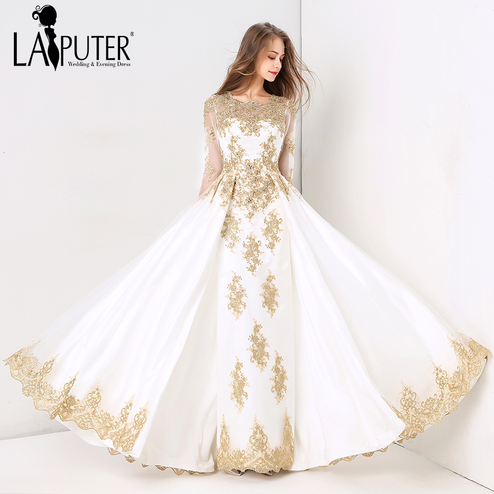 Aliexpress Com Buy Vintage Lace Long Sleeve Muslim: Laiputer 2018 Collection Formal Muslim Ivory And Gold Lace