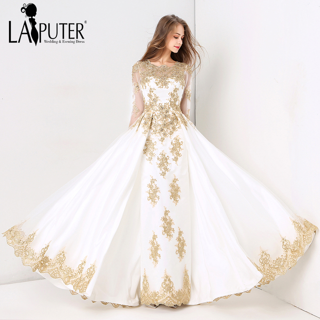 928ad7ac12e06 Laiputer 2018 Collection Formal Muslim Ivory and Gold Lace Beading Crystal Long  Sleeves Luxury Vintage Arabic Evening Prom Dress