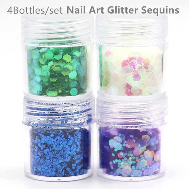 4Bottles Nail Art Glitter Set Sequins Nail Decals Holographic ...
