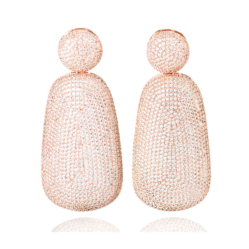LANFLORA חתונה עגילי מעוקב זירקון earrrings נחושת סגסוגת לנשים רוז זהב עגילים
