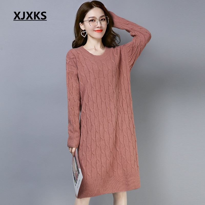 XJXKS Women 2018 Autumn Winter Solid Color Female Pullover Dress Wool And Cashmere Knit Wear Women Sweater Knitting Dress
