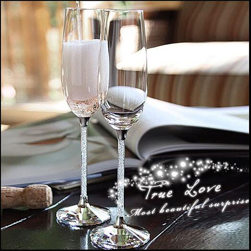 New Crystalline Champagne Toasting Flutes With Crystal Facet