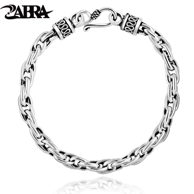 ZABRA Real Solid 925 Sterling Silver Water Shape Vintage Bracelet for Mens Women Steampunk Retro Thai