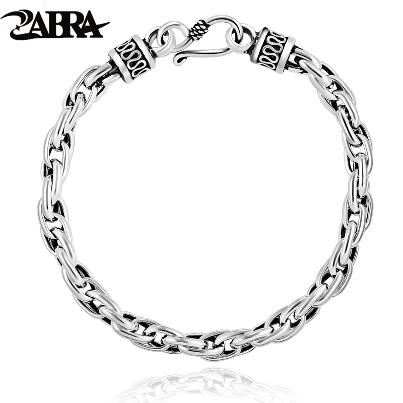 ZABRA Real Solid 925 Sterling Silver Water Shape Vintage Bracelet for Mens Women Steampunk Retro Thai Silver Process Men Jewelry vintage alloy eagle shape bracelet for men