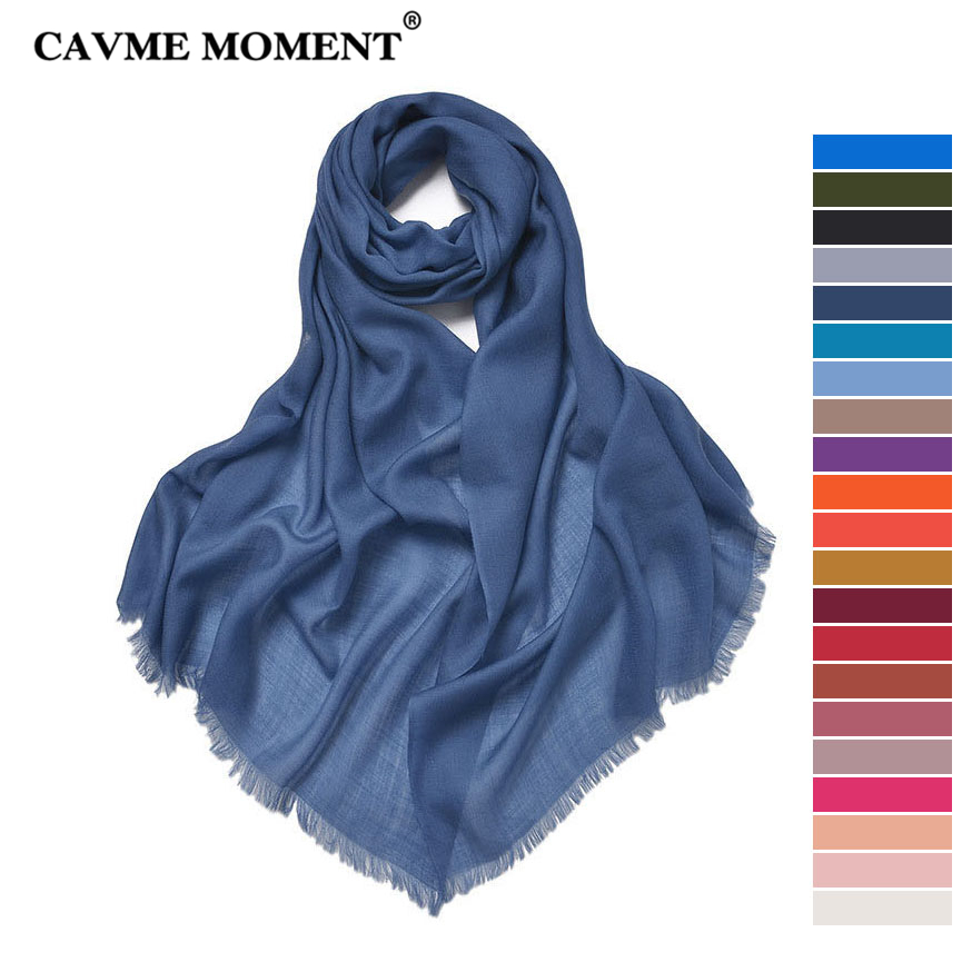 CAVME Pure Wool Pashmina Scarf Ladies Elegant Long Scarves Solid Color Classic Soft Woolen Women Wraps Shawls 70*200cm 70g