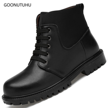 Men's boots ankle genuine leather casual shoes classic black plus size snow shoe man autumn winter military combat boots for men цены онлайн