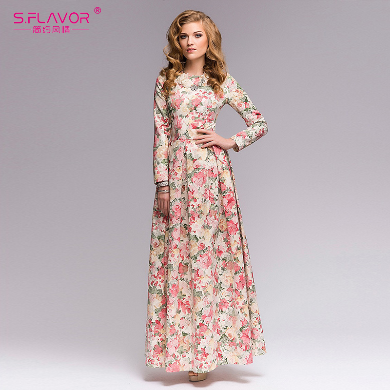 9536d9d3cdd S.FLAVOR women printing long dress Elegant O neck long sleeve Bohemian  style Party Dress for Lady women Spring Summer Vestidos-in Dresses from  Women's ...
