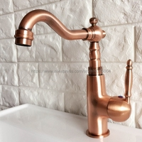 Antique Red Copper Faucet Retro Style Basin Faucet Rotating Single Handle Single Hole Hot And Cold Water Nnf410