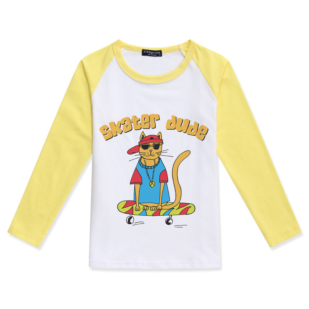 2019 Limited Time Discount Kids Clothing Cartoon Skater Dude Cat O Neck Cotton Tee Boys Long Sleeve Tops Shirt Enfant Garcon