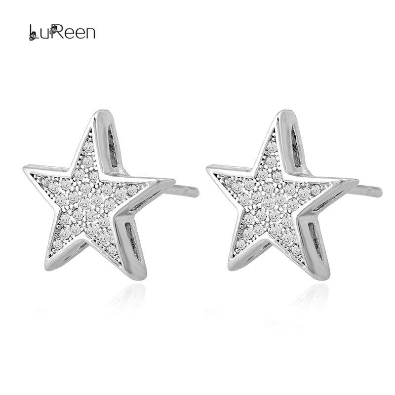LuReen Luksusowy Złoty Srebrny Gwiazda Kolczyki męskie Micro Pave - Modna biżuteria - Zdjęcie 4