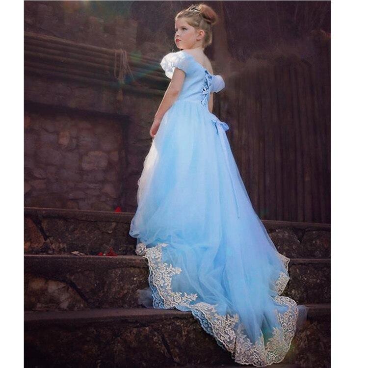 ФОТО  Cinderella Lace robe fille enfant Princess Wedding Dress Birthday Bow baptism girl elsa toddler graduation gowns children