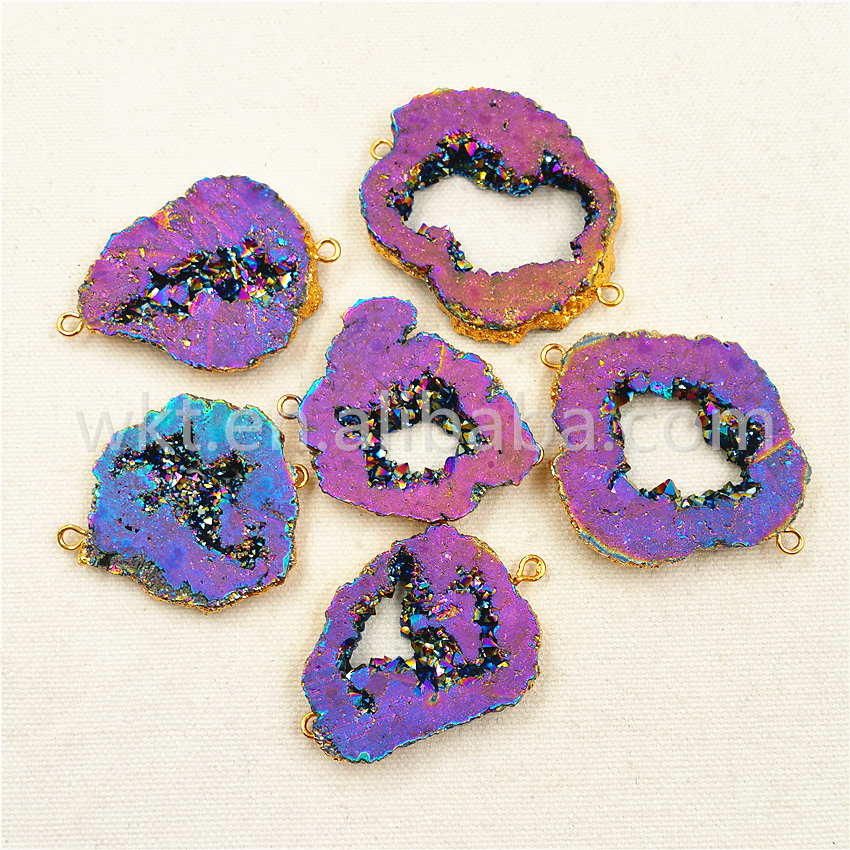 WT C125 Raw geode quartz stone connectors druzy drusy titanium quartz geode connectors hot sale female