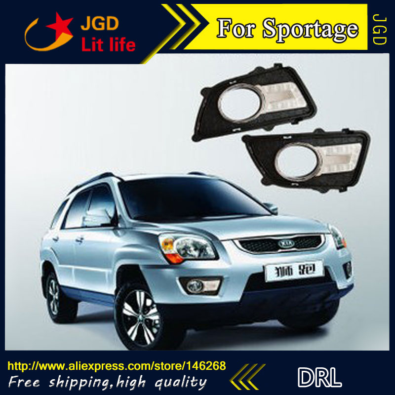 Free shipping ! 12V 6000k LED DRL Daytime running light for Kia Sportage 2013 fog lamp frame Fog light Car styling