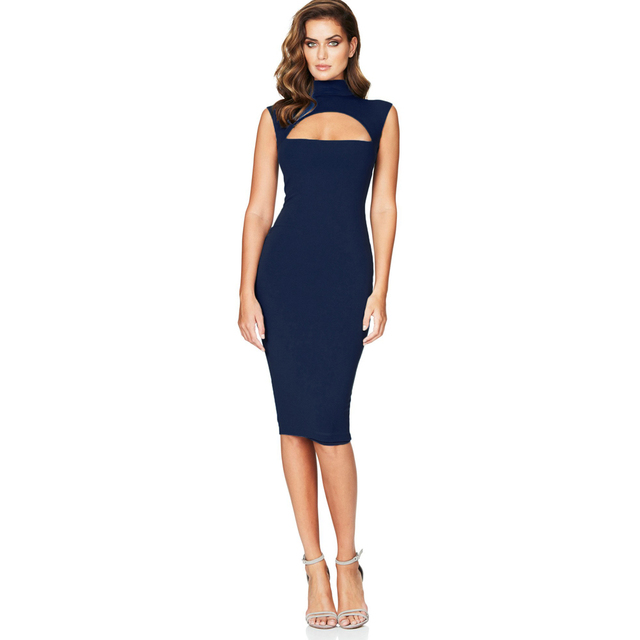 Sexy Hot Women Midi Tank Dress Solid Cut Out Front High Cowl Neck  Sleeveless Bandage Bodycon a13dca80c2