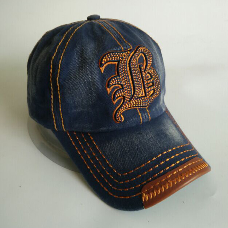 1 Pcs 2016 New Hot Sell Denim Letter Embroidery   Baseball     Caps   Spring Summer Leisure Hats For Women And Men Snapback2006