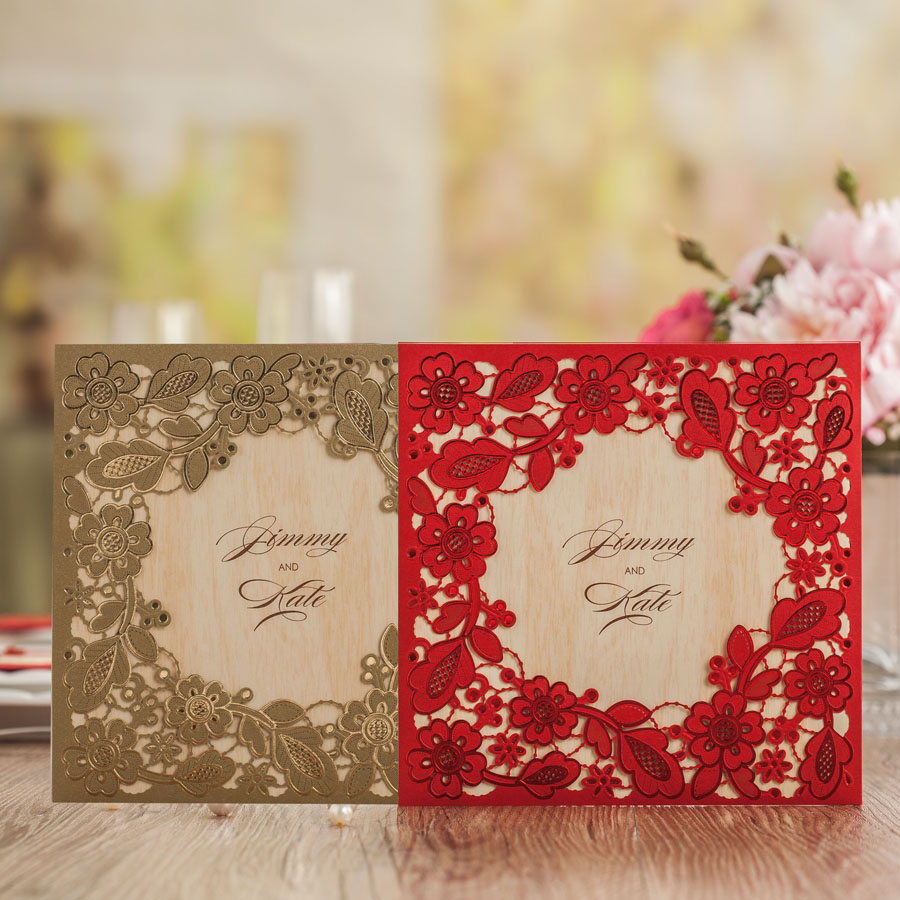 Wishmade Arrival Laser Cut Embossed Red Gold White Lace Wedding Invitations Cards Luxury Design Birthday Greeting