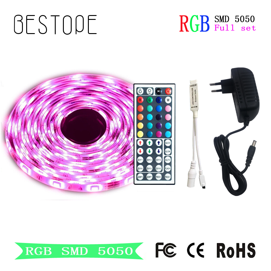 15M RGB LED Strip Flexible light Tape 5M 10M SMD 5050 DC 12V Waterproof LED Strip Ribbon and controller for Home Decoration 15m led strip set rgb smd 5050 led strip tape light waterproof 450leds wifi 24key controller 12v 78w powersupply diy color