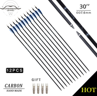 LongbowMaker 30 Inch Spine 500 Carbon Arrow For Compound Recurve Bow Hunting And Archery Shooting Target