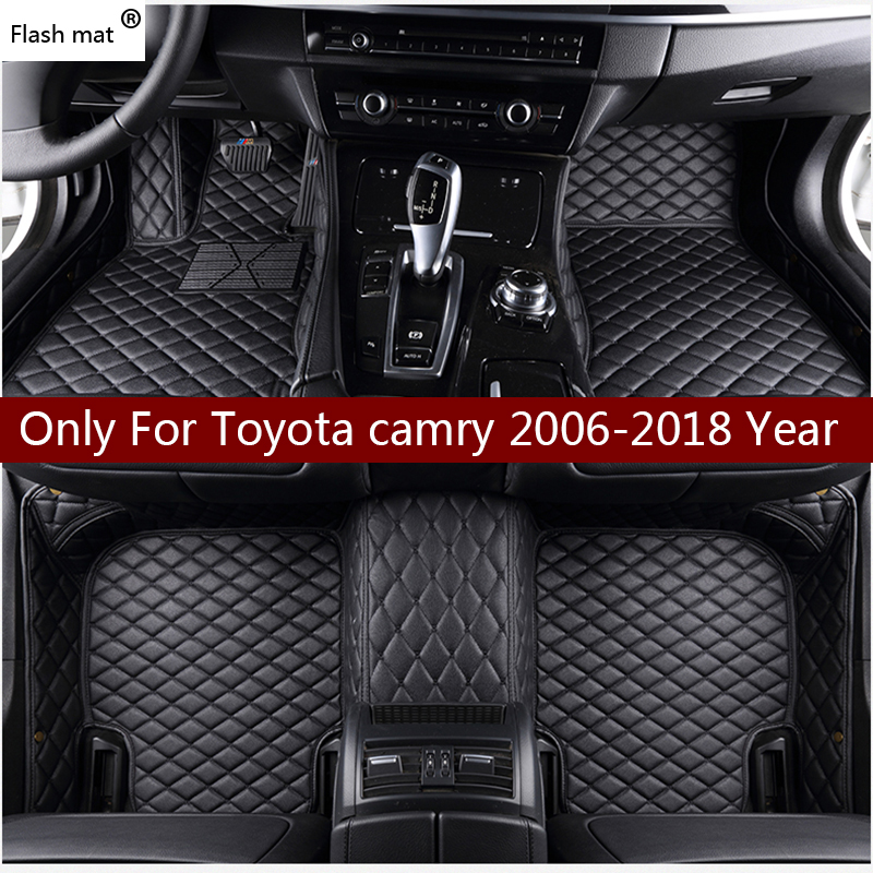 Flash Mat Leather Car Floor Mats For Toyota Camry 2006 2017 2016 2018 Custom Auto Foot Pads Automobile Carpet Cover In From Automobiles