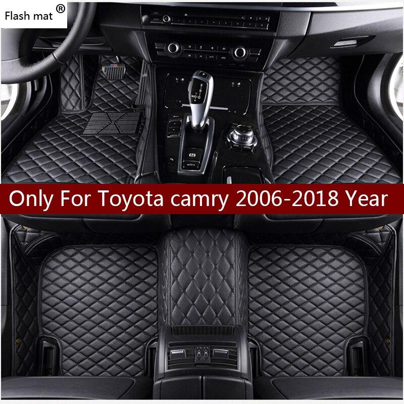 Flash tapis en cuir tapis de sol de voiture pour Toyota Camry 2006-2014 2015 2016 2017 2018 Personnalisé auto patins tapis d'automobile housse
