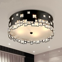 Modern Minimalist Crystal LED Black Circular Dining Room Bedroom Lamps Creative Atmosphere Ceiling Lights LO811
