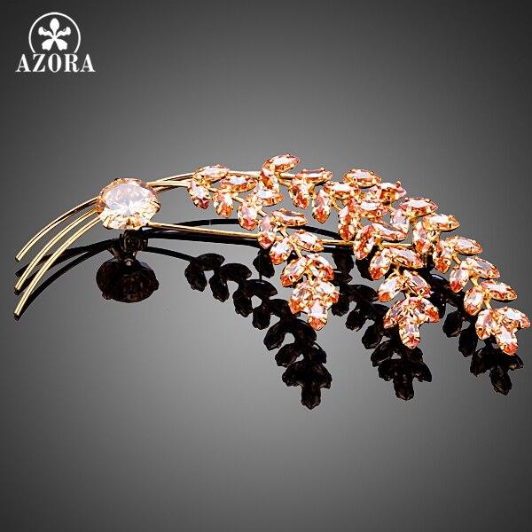 AZORA Fashion Jewelry Three Bundles Wheat Gold Color Top Grade Cubic Zirconia Pin Brooch TP0034