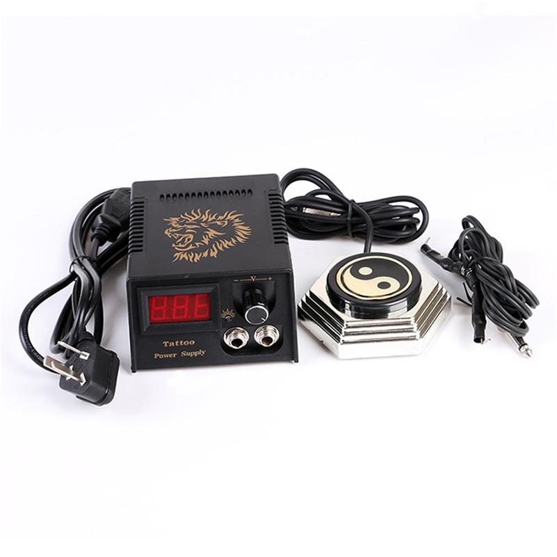 1Pcs Black Lion Casting LCD Digital Tattoo Power Supply + 1Pcs Round Foot Pedal + 1Pcs Black Clip Cord black red yellow blue skull design stainless steel tattoo foot pedal switch footswitch power supply