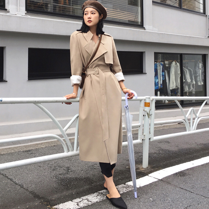 2019 fashion black Long   Trench   Coats Spring Autumn Over the knee Loose Tie Korean Chic Simple Thin Coat X778