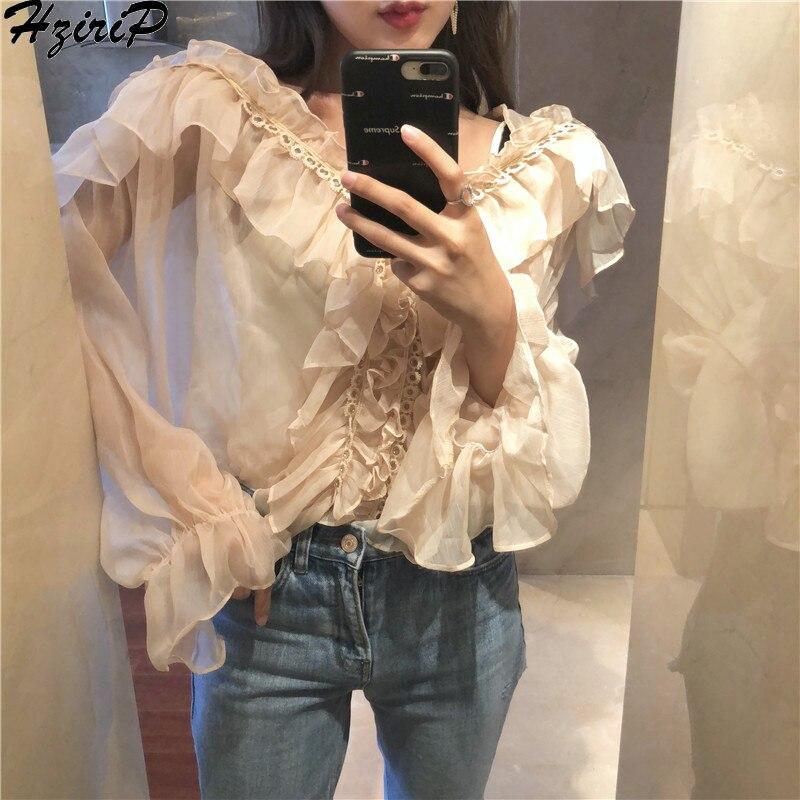 HziriP Новый дизайн Сексуальная Блузка Топ 2019 корейский весна осень стильные элегантные оборки рабочая одежда для женщин с v образным вырезом Blusas Плюс Размер