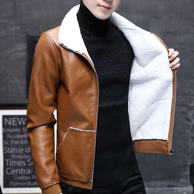 9a87afaac New Winter Jacket Men PU Leather Jacket Fleece Thick Warm Moto Biker Men  Jacket Coat Streetwear Male Clothes