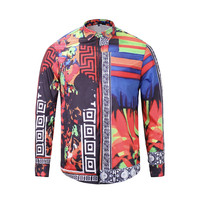 Mr GUGU & Mis GO Fashion Comfortable British Style Gold Flower Printing Long Sleeve Shirt High Quality Luxurious Men Lapel S