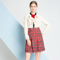 Sweet Style Women 2 Pieces Dress Sets Ruffles Single Button Flower White Tops Shirt Plaid Zippers Short Skirt Female Suit