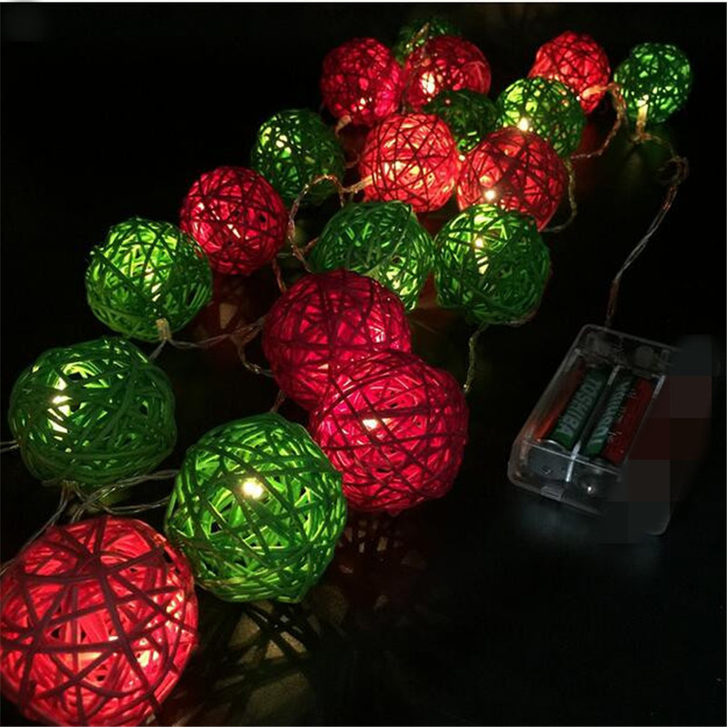 4cm Rattan Balls Red/Green String Lights LED Fairy Lights Patio Wedding Lights Decoration for Party Holiday use With Battery box
