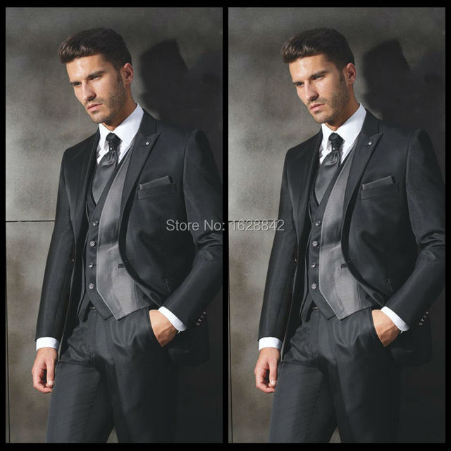2016 Hot Sale Gray Sliver Single Breasted Wedding Suits For Men Tailor Made Slim Fit Costume Homme Plus Size Ternos
