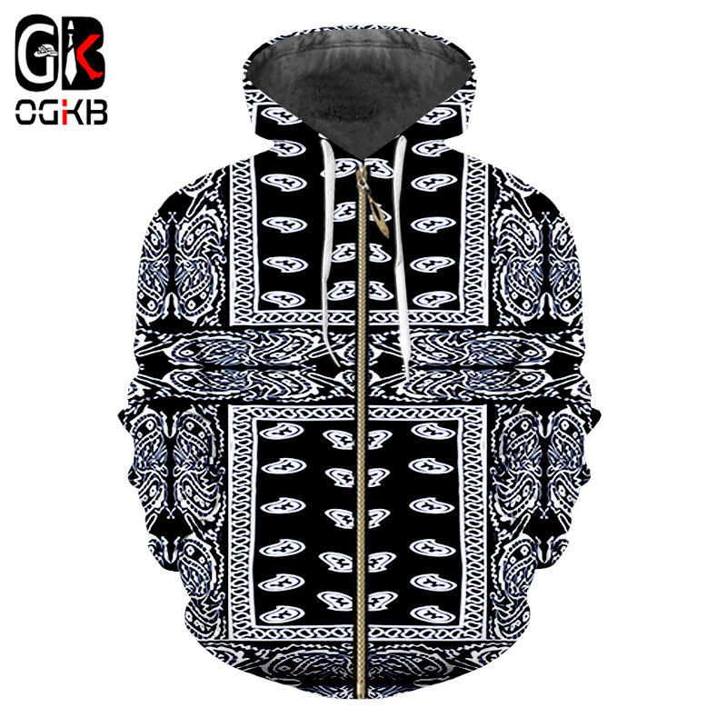 OGKB Fall Men's 3d Print Black Bandana Hoodies Paisley Sweatshirt Male Long Sleeve Zipper Hoody Cashew Flower Printing Jackets