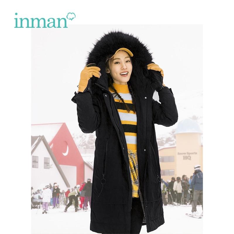 INMAN 2018 Winter Fur Collar Hoody Cute Fashion Long Warm Women   Down     Coat   With Pocket