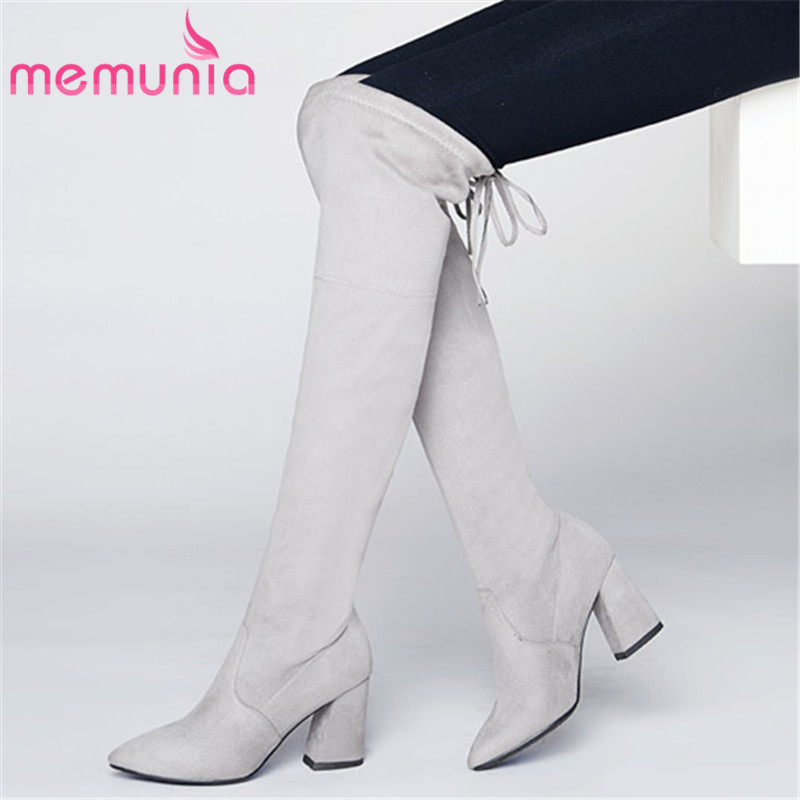 MEMUNIA 8 colors Faux Suede boots high heels over the knee boots women in autumn winter stretch thigh boots big size 34-43 ppnu woman winter nubuck genuine leather over the knee snow boots women fashion womens suede thigh high boots ladies shoes flats