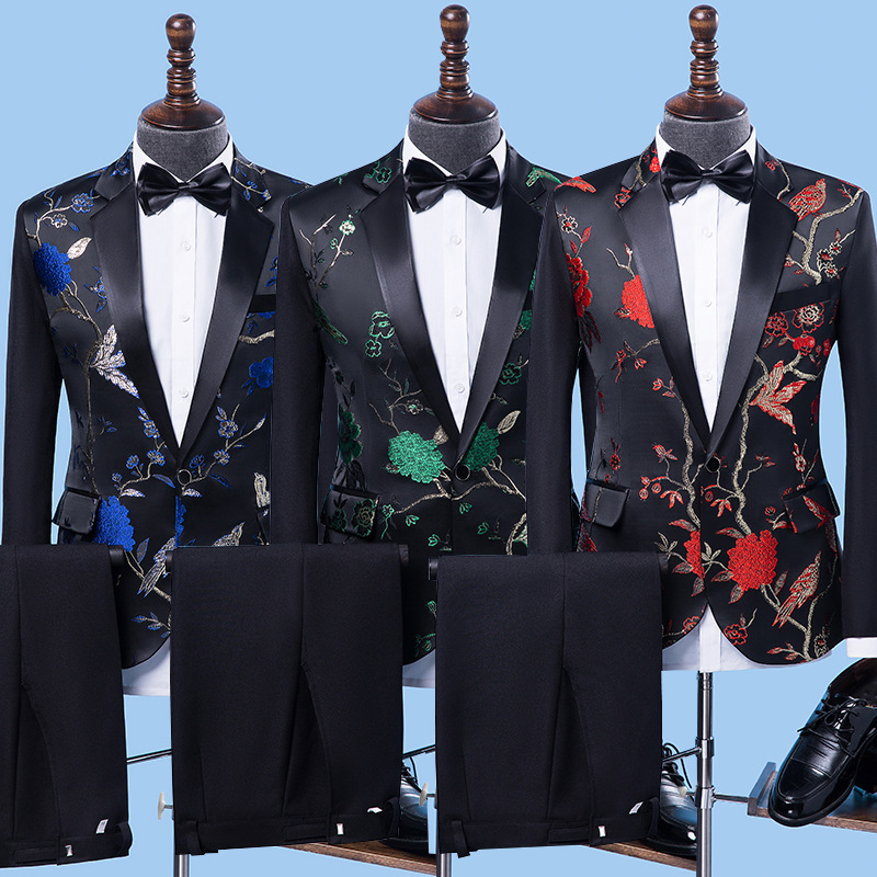 male host printing suit singer clothing stage as marshal chorus performance take a suit of cultivate one's morality Two pieces