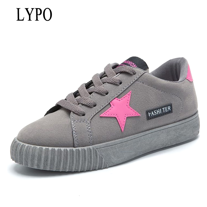 LYPO Autumn Women Shoes Korean lace up sneakers 2018 new casual women wild flat Student shoes breathable flats shoes glowing sneakers usb charging shoes lights up colorful led kids luminous sneakers glowing sneakers black led shoes for boys