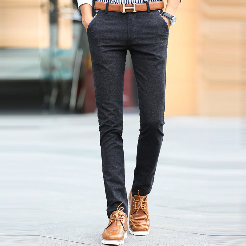 7f53ec6f US $36.6 25% OFF|2017 Fashion navy blue Casual Pants Men Spring and Summer  Pockets Chino Pants Full Length Slim Fit Mens Dress Pants black-in Skinny  ...