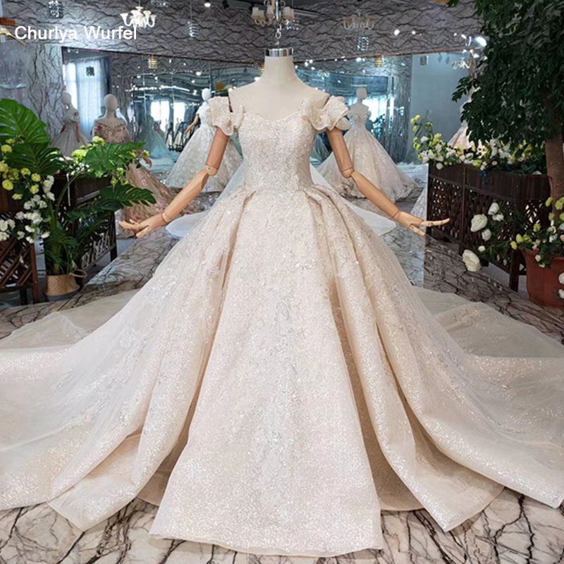 Special Off Shoulder Wedding Dresses With Wedding Veil Lace Up Back Handmade Beaded Bridal Dress For Girl Robe De Mariee HTL301