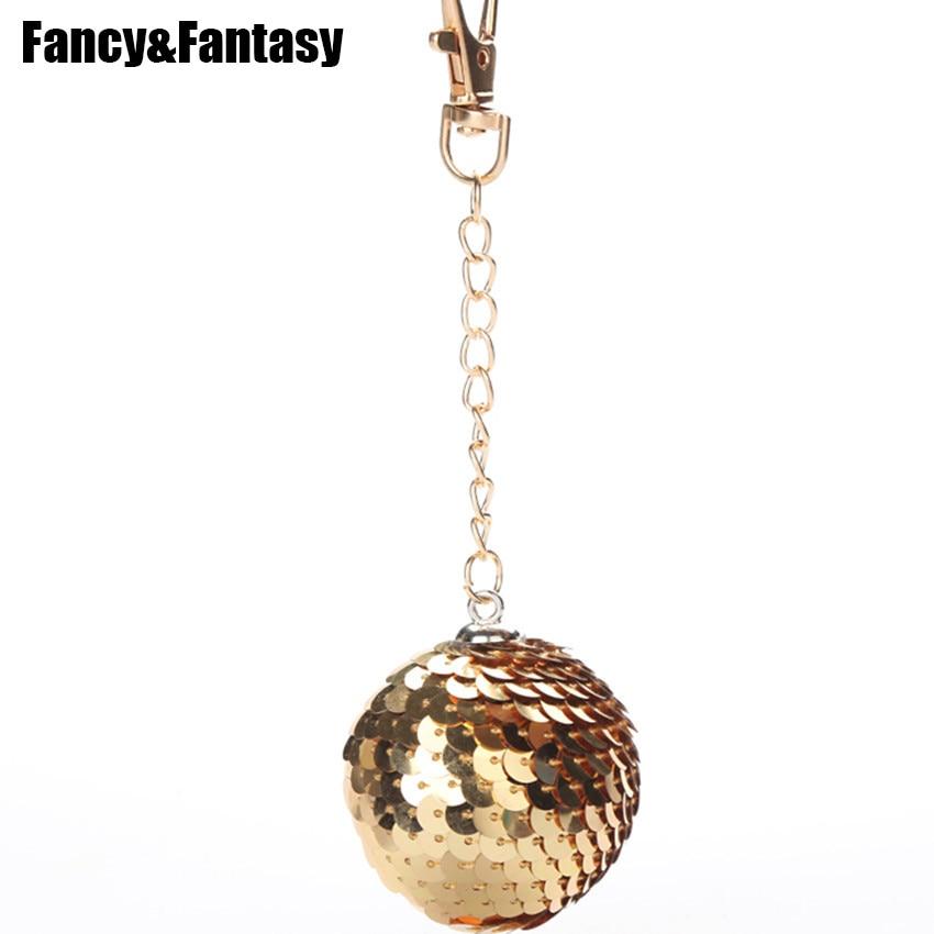 Fancy&Fantasy Gold Glitter Round Ball Keychain Stitch Sequins Key Chain Women Car Key Ring Bag Charm Pendant Llaveros Anahtarli