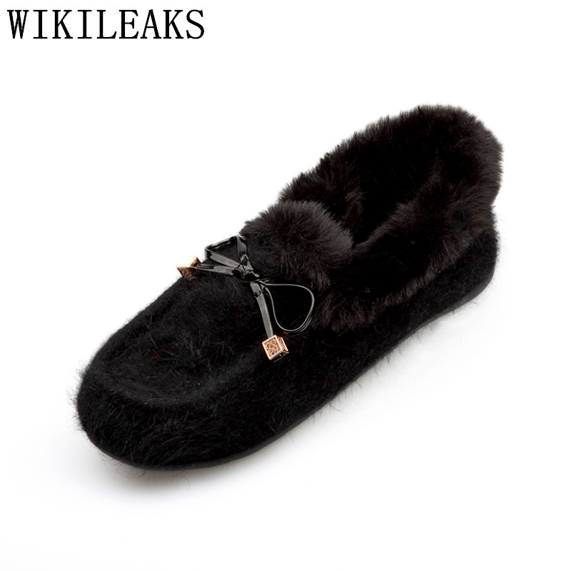winter fur slip on flat shoes for women butterfly-knot ladies shoes flock loafers luxury brand sapato feminino zapatos de mujer new designer women fur flats luxury brand slip on loafers zapatillas mujer casual ladies shoes pointed toe sapato feminino black