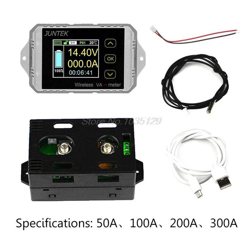 DC 120V 50A 100A 200A 300A Wireless ammeter Voltage KWh Watt Meter Car Battery coulometer Capacity tester Power monitoring multifunction wireless color lcd voltage current meter capacity electricity meter coulometer 0 120v 200a