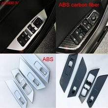 Carbon fiber window glass lifter switch buttons decorative frame covers trim interior car accessories for Skoda Kodiaq 2016 2017