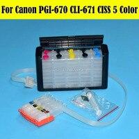 5 Color/Set PGI670 CLI671 Ciss Bulk Ink Supply System For Canon MG5760 MG6860 PGI 670 Ciss With ARC Chip