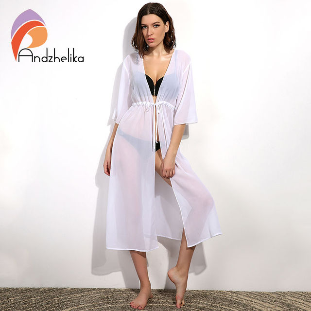 Andzhelika Swimsuit Cover Up 2017 Women Sexy Beach Cover-Ups Chiffon Long Dress Solid Beach Cardigan Bathing Suit Cover Up